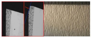 Figure 9 Comparison of unused and used ceramic crepe doctor showing minimal impact and sliding wear and resultant smooth tissue quality