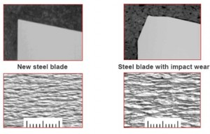 Figure 8 Impact of steel blade wear on crepe structure. New steel blade on left, Steel blade with Impact Wear on right